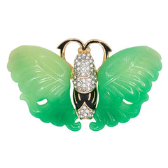 Jade & Black Butterfly Pin