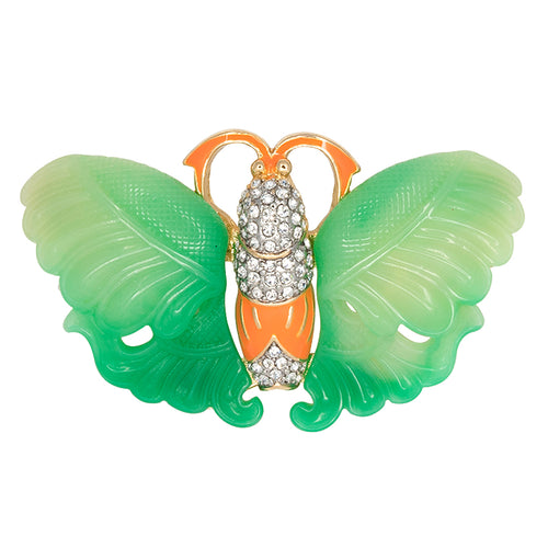Jade & Coral Butterfly Pin