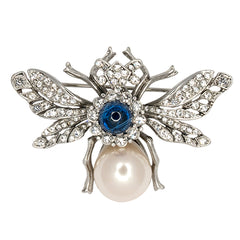 Antique Silver & Crystal Bee Pin