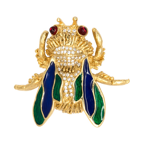 Kenneth Jay Lane Green Gold Lion Pin Gold/green chrysophase CHXr8Nw