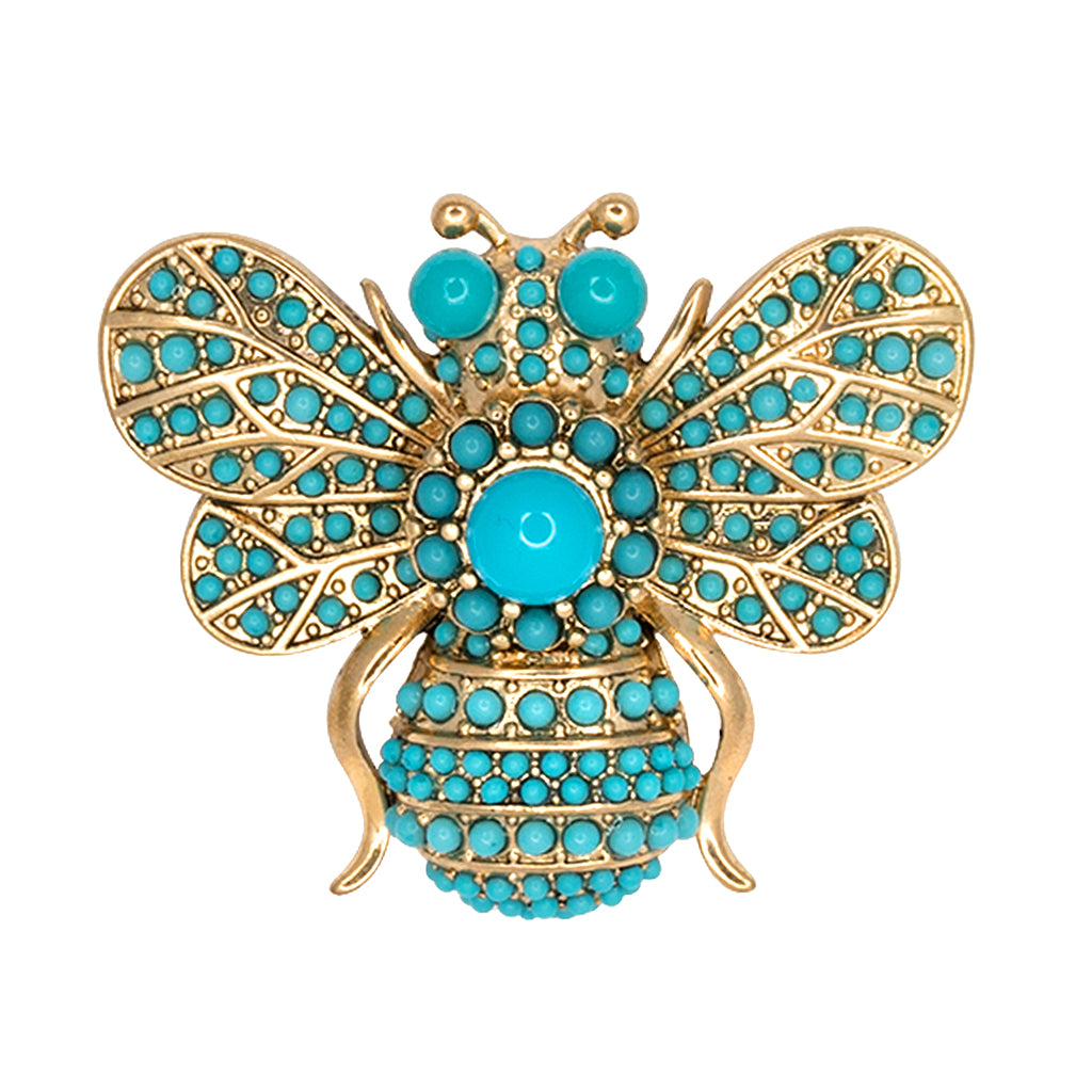 Turquoise Bee Pin