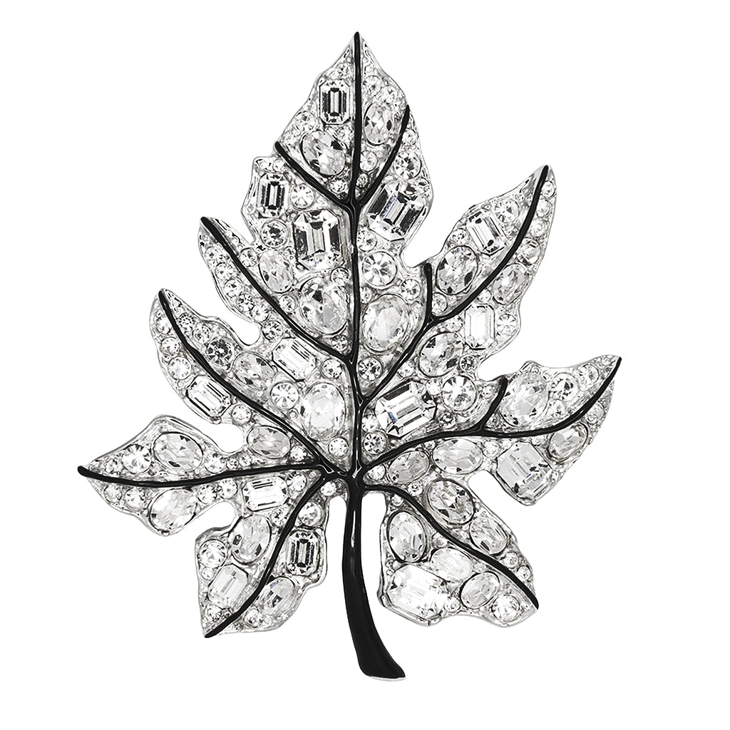 Crystal Leaf Pin