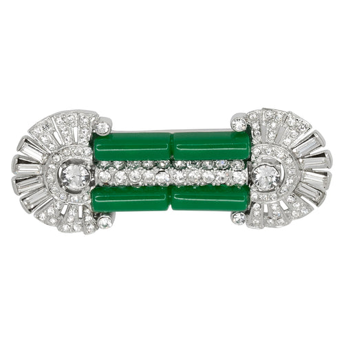Crystal & Jade Deco Pin