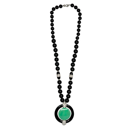Jade Deco Pendant Necklace