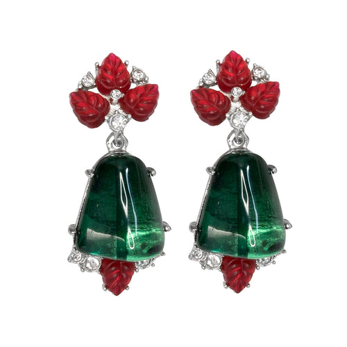 Ruby & Emerald Drop Clip Earrings
