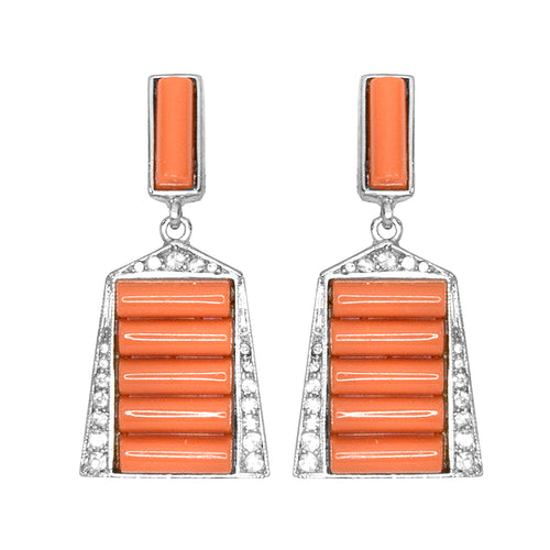 Coral Deco Clip Earrings