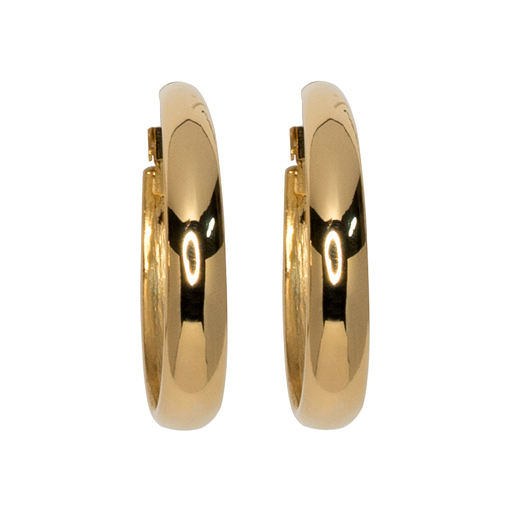 Polished Gold Tapered Hoop Earrings
