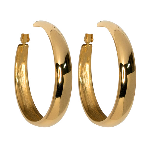 Porter Edit Magazine/May - Polished Gold Tapered Hoop Pierced or Clip Earrings