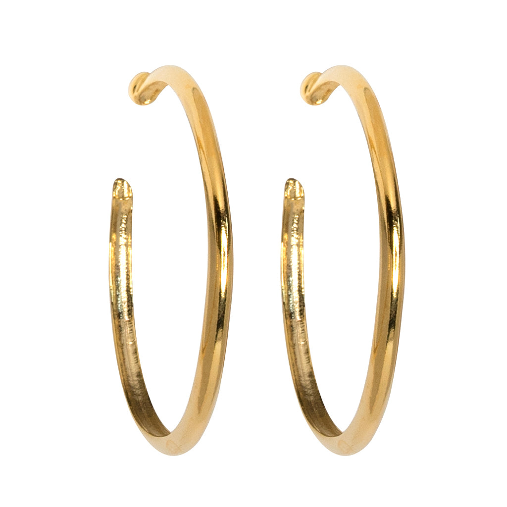Gold Hoop Pierced or Clip Earrings