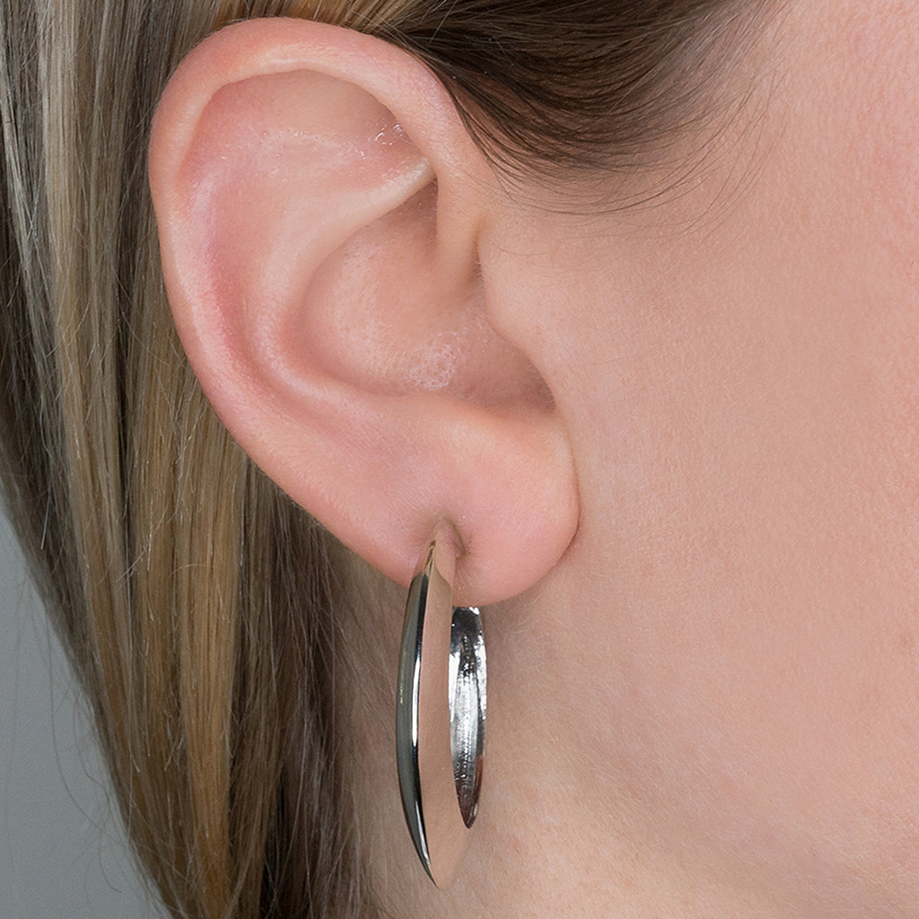 Polished Silver Tapered Hoop Clip Earrings