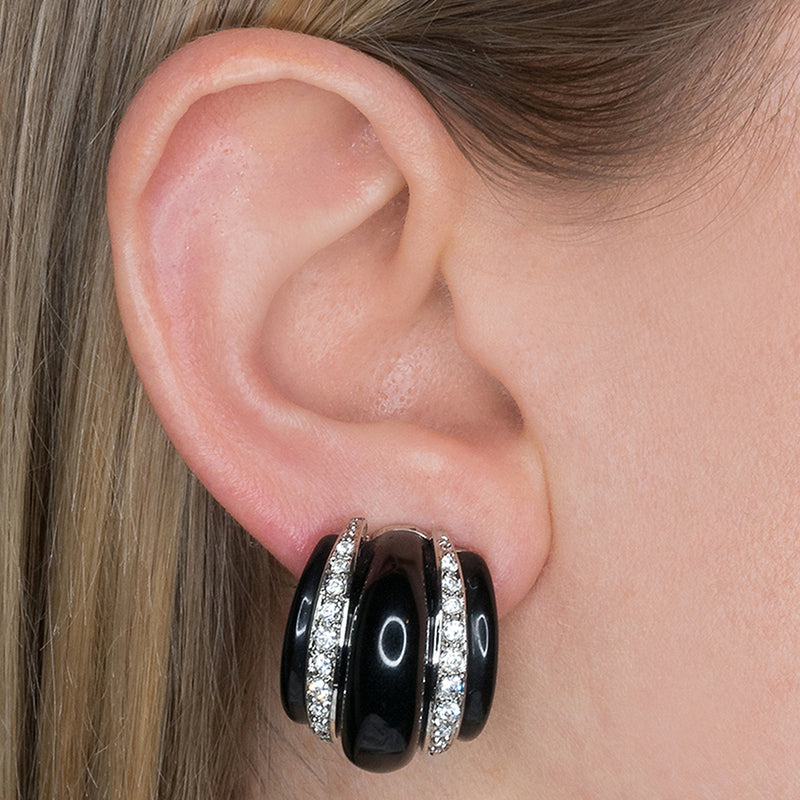 Black Ribbed Hoop Clip Earrings
