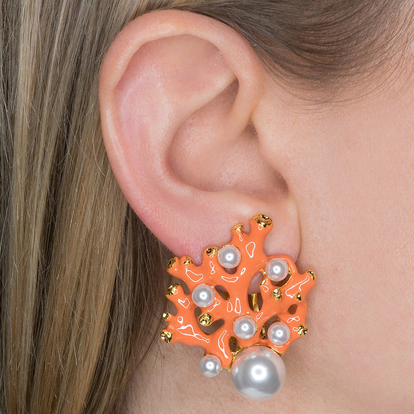 Coral & Pearl Dot Clip Earrings