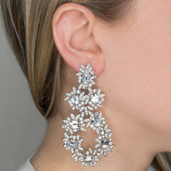 Silver & Crystal Flower Clip Earrings