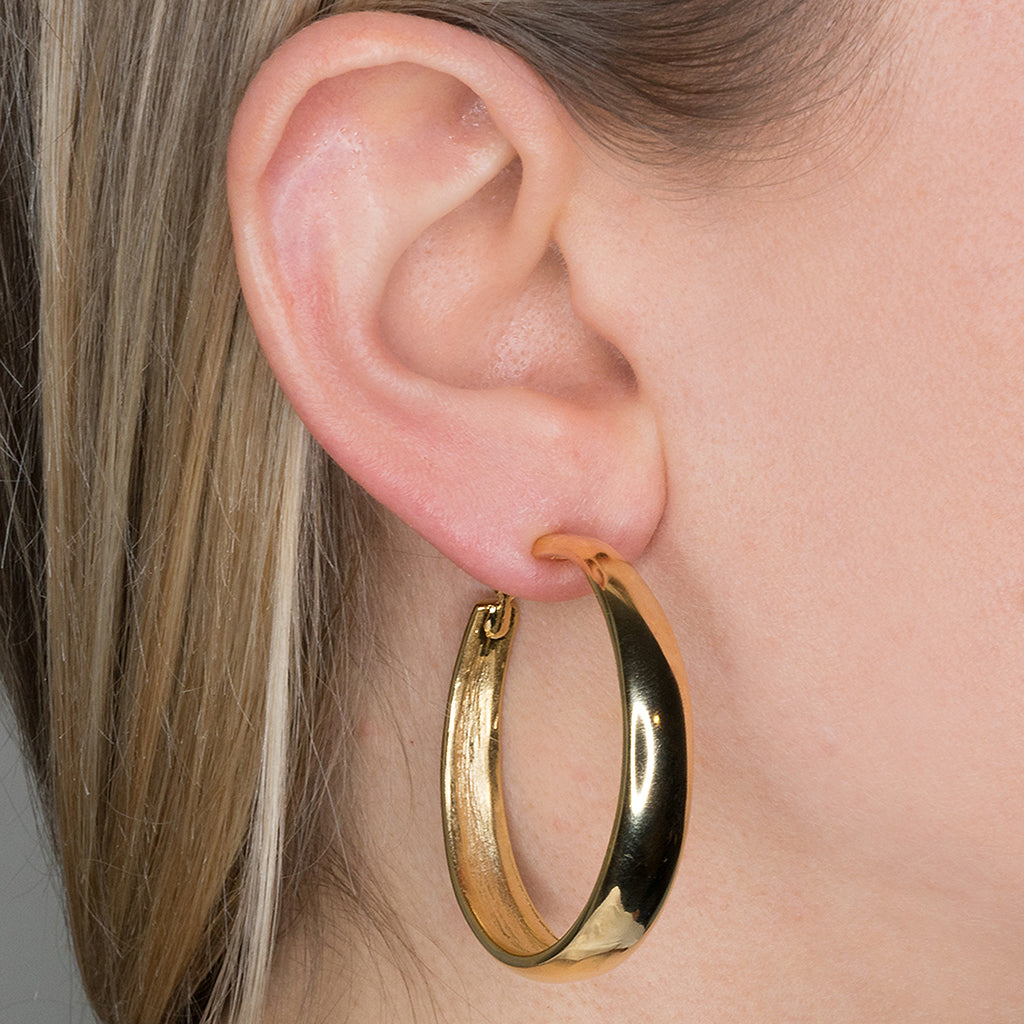 Polished Gold Tapered Hoop Pierced or Clip Earrings