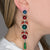 Sapphire, Ruby & Emerald Drop Pierced Earrings