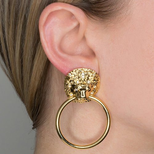 Lion Head Doorknocker Pierced or Clip Earrings