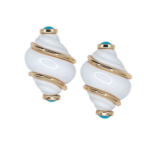 Polished Gold White Shell with Turquoise Tips Earrings