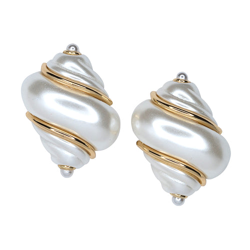 White Pearl Shell Clip Earrings