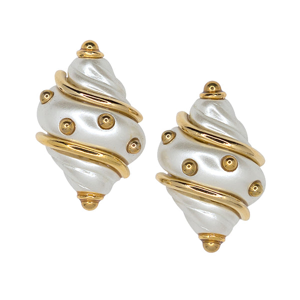 Cultura Pearl Shell with Gold Dots Clip Earrings