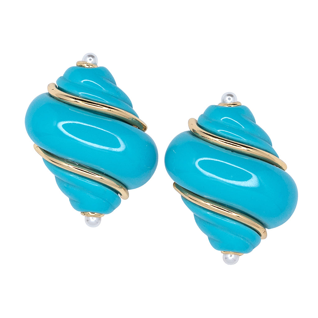 Gold Turquoise & Pearl Tip Shell Clip Earrings