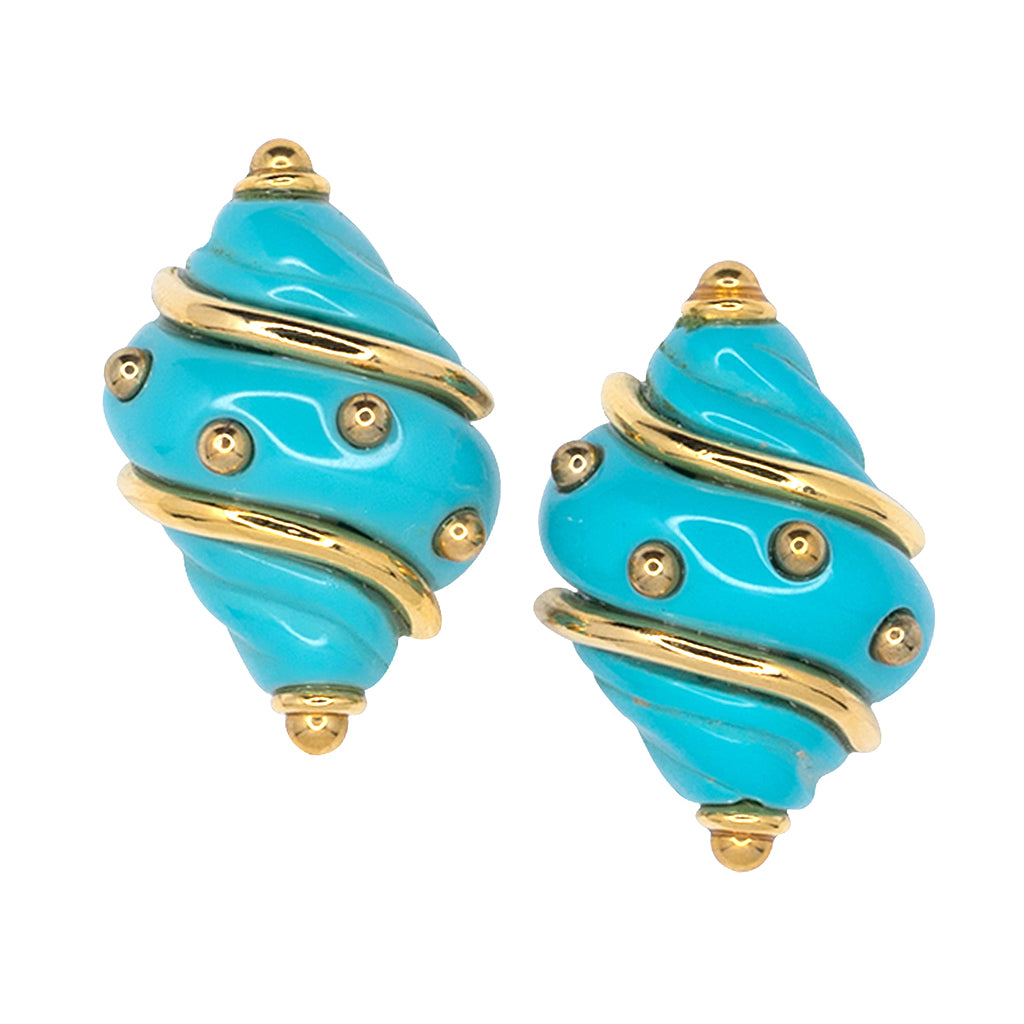 Turquoise Shell with Gold Dots Clip Earrings