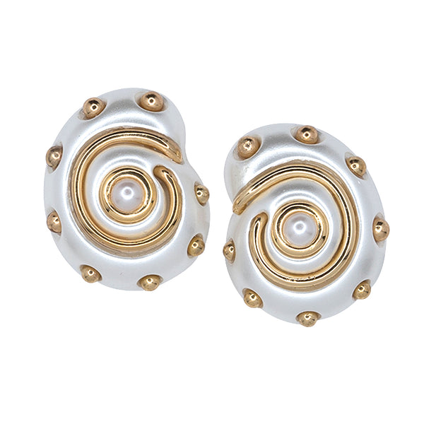White Pearl with Gold Dots and Pearl Center Shell Clip Earrings