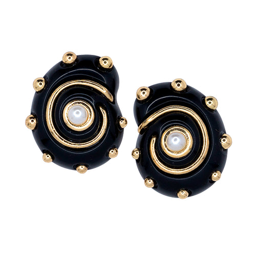 Black/Gold Dots Snail Pearl Center Clip Earring