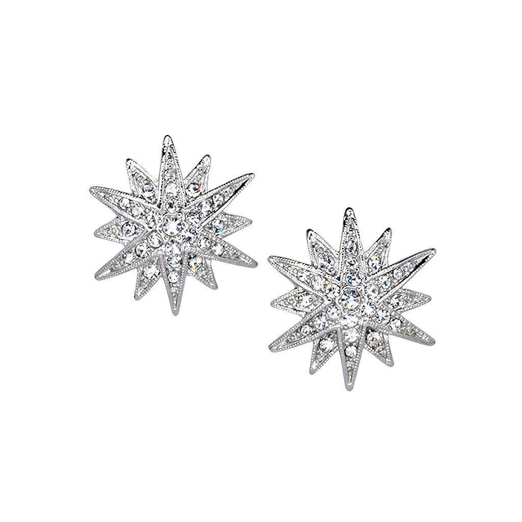 Kenneth Jay Lane Silver Crystal Starburst Clip Earring