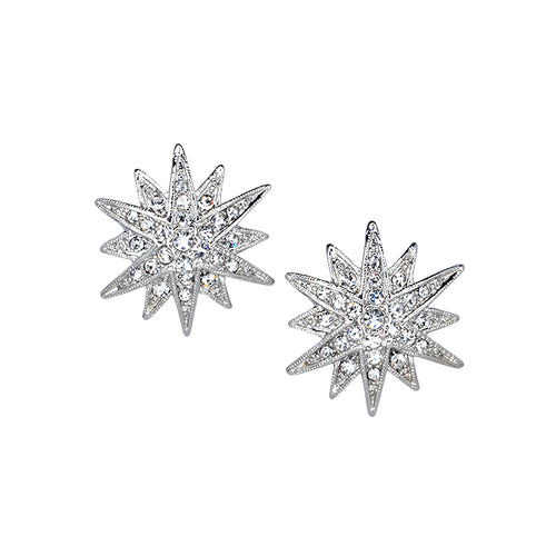 Silver Crystal Starburst Pierced or Clip Earrings