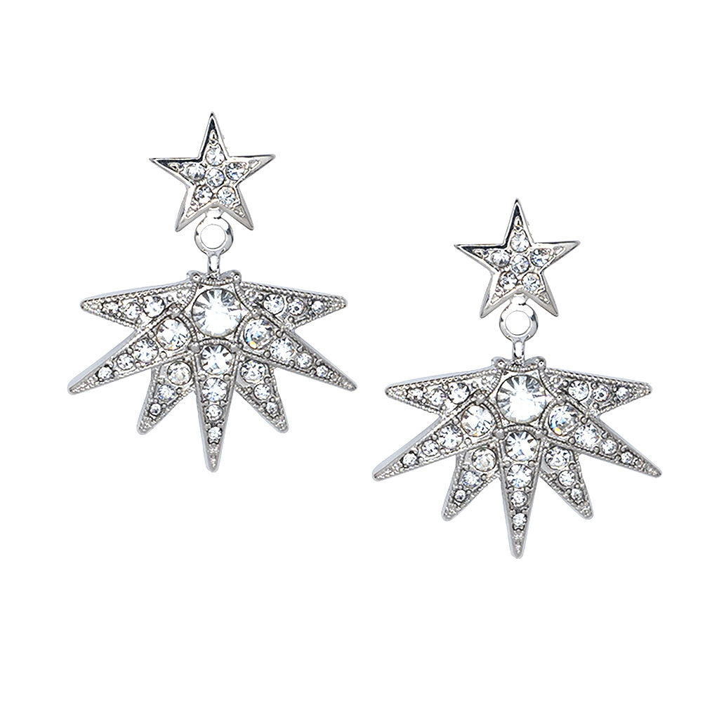 Rhinestone Crystal Starburst Drop Pierced Earrings