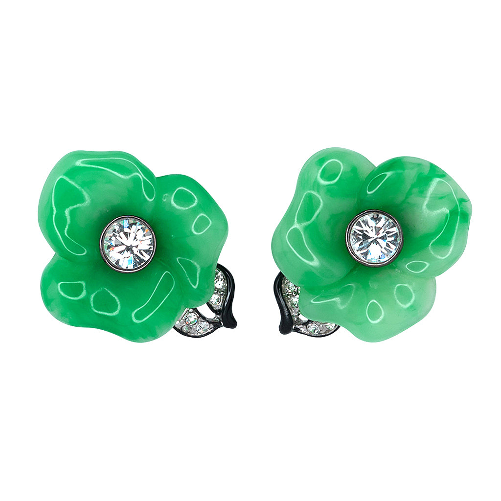 Jade Flower Clip Earrings