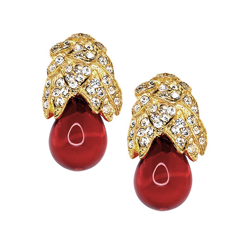 Gold, Rhinestone And Ruby Clip Earrings