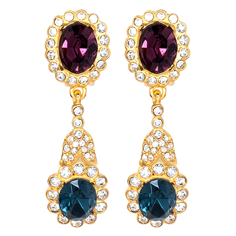 Gold, Crystal & Sapphire Drop Clip Earrings