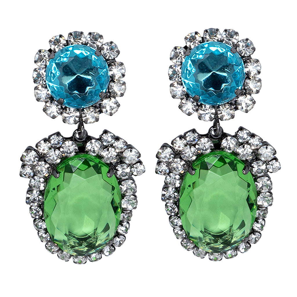 Gunmetal/Crystal Setting Aqua Peridot Drop Pierced or Clip Earrings