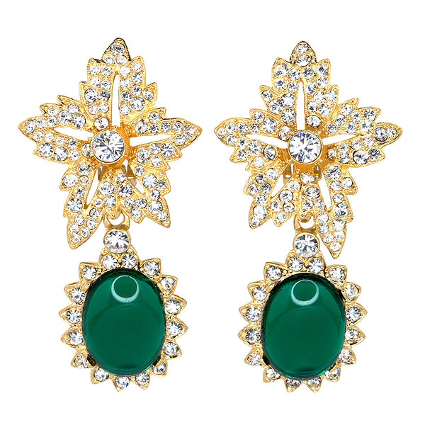 Gold Crystal Flower Top Emerald Cab Drop Clip Earrings