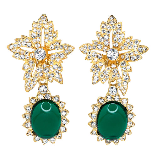 Vogue / September 2020 - Gold Crystal Flower Top Emerald Cab Drop Clip Earrings