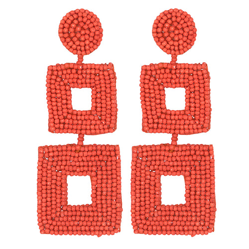 Coral Seed Bead Open Double Square Shape Drop Pierced or Clip Earrings
