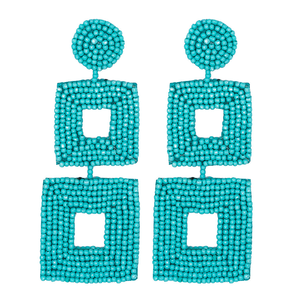 Turquoise Seed Bead Open Double Square Shape Drop Pierced or Clip Earrings