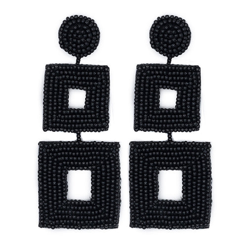 Black Seed Bead Open Double Square Shape Drop Pierced or Clip Earrings