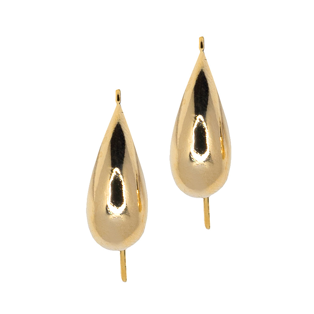 Polished Gold Fish Hook Pierced Earrings