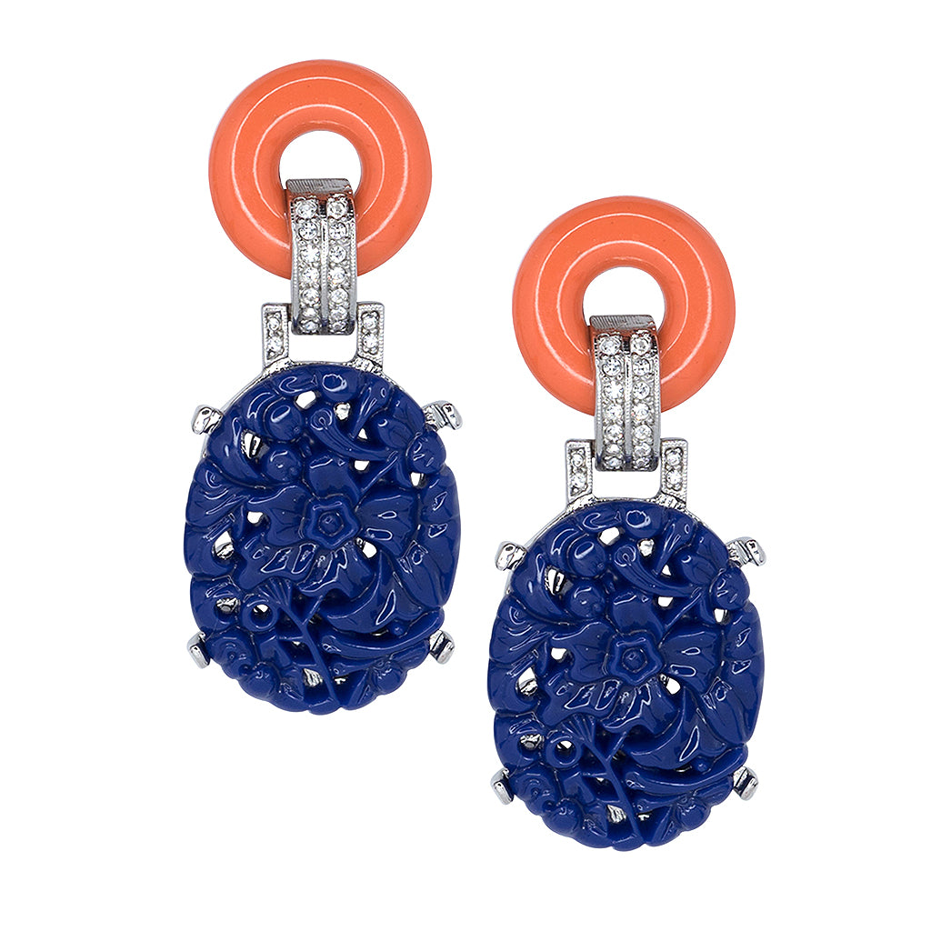 Coral Top Carved Lapis Drop Deco Clip Earrings