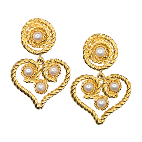 Satin Gold Heart Drop White Pearl Clip Earrings