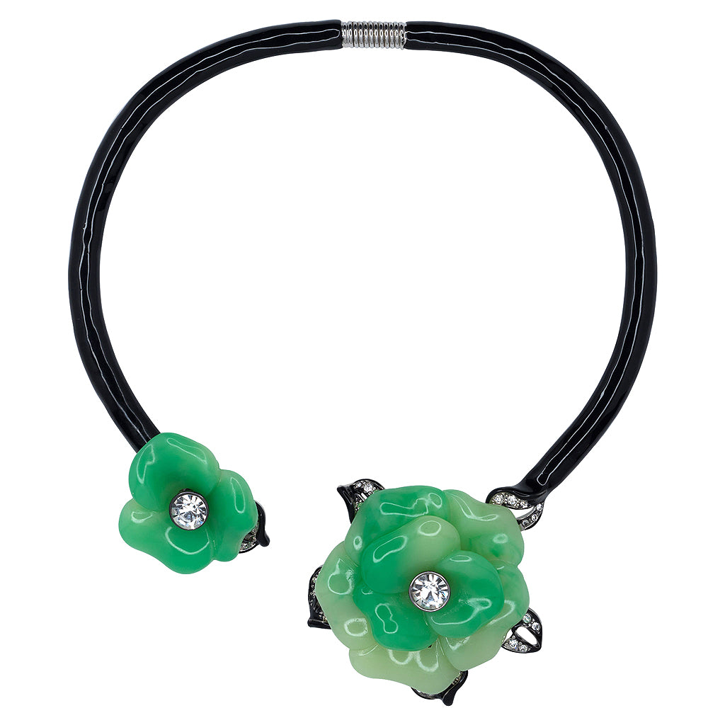 Black Collar Necklace With Jade Flowers
