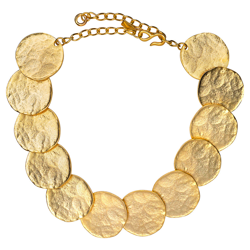 Satin Gold Coin Bib Necklace
