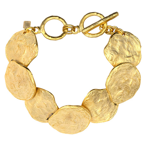 Brushed Satin Gold Discs Bracelet