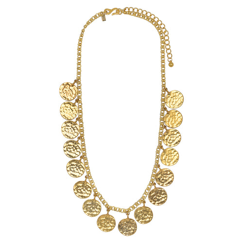 "23"" Adjustable Satin Gold Coin Necklace"