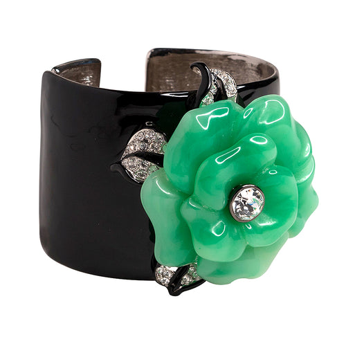Black Cuff with Jade Flower