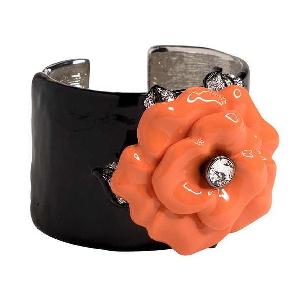 Black Cuff with Coral Flower