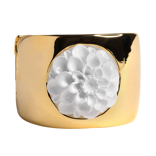 Polished Gold Cuff with White Flower Motif