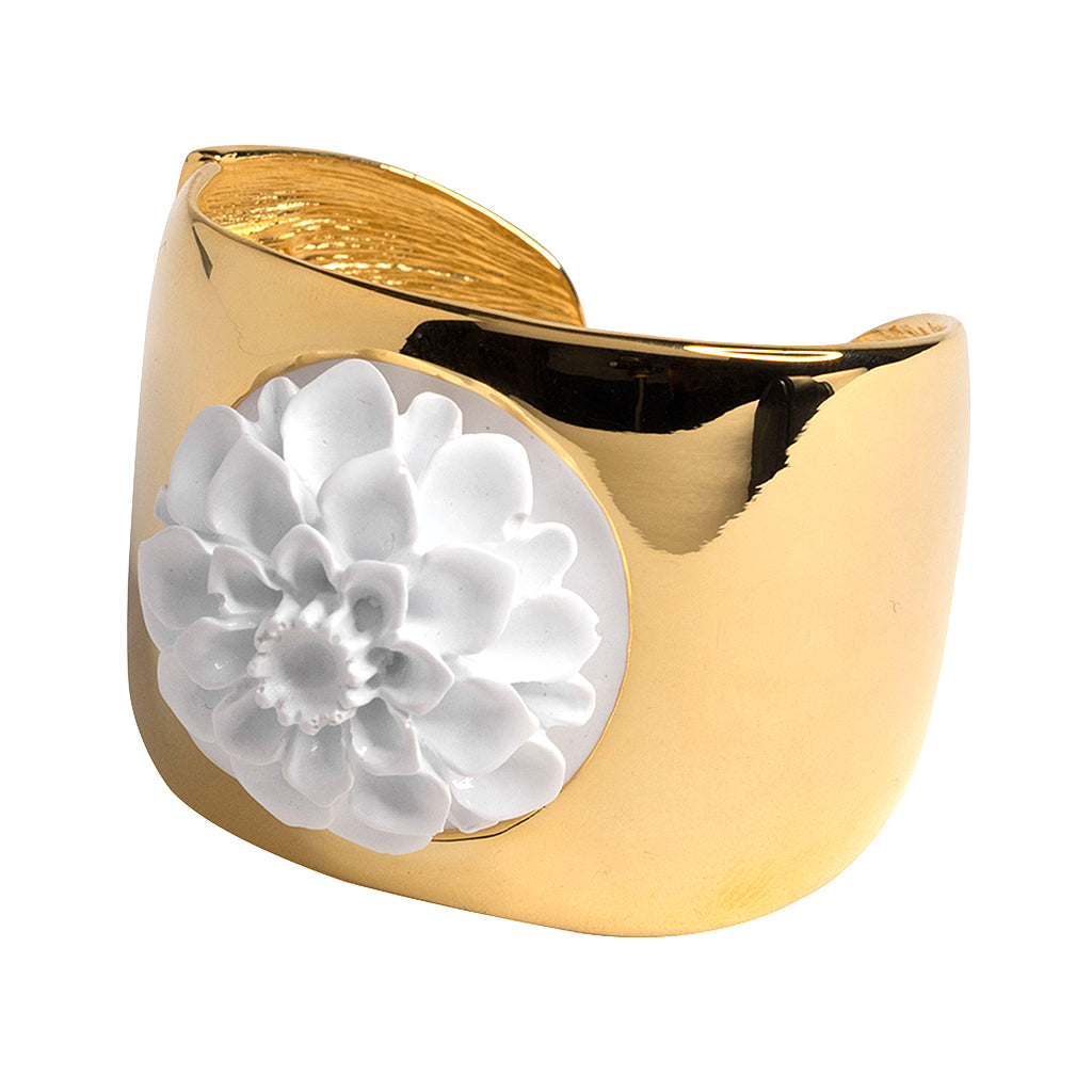 "1.5"" Wide Polished Gold Cuff w/ White Flower Motif"